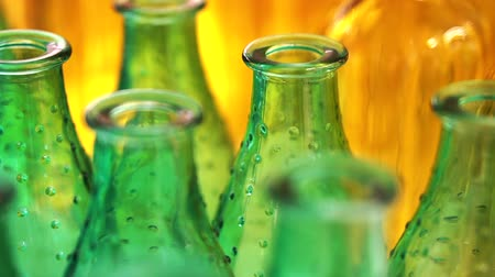 shelf life : Colorful glass bottles and vases. Close up abstract vivid rainbow color material