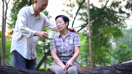 senior lifestyle : Happy Old Asian senior couple dating at park in the morning. Coffee conversation Stock Footage
