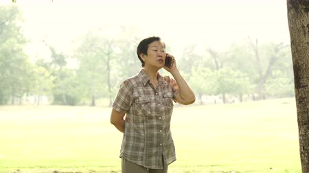 стоимость : Asian senior woman talking on phone in park