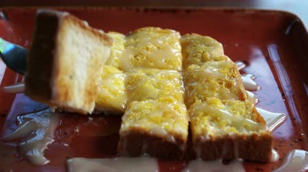 sweetened : Toasted bread with butter and condensed milk Asian style sweet