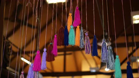 püskül : Door colourful decorate ornament tassels hanging video 4k