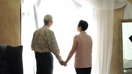 sağlamak : Wealthy Asian senior couple parent holding hand in front of light curtain Stok Video
