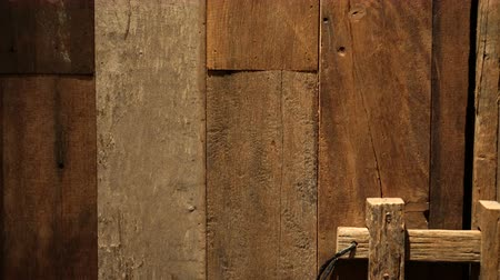 antique grunge : Old rustic teak wood plank door texture, old style lock video 4k