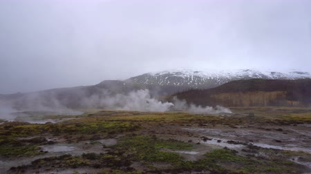 strokkur : People waiting for geyser explode in Iceland Stock Footage