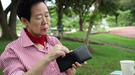 none : Asian senior elderly has no money stress, financial worry in park Stock Footage