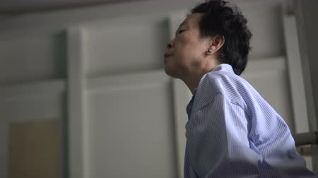 copyspace : Asian senior woman stress, worry, serious at hospital 4k Stock Footage