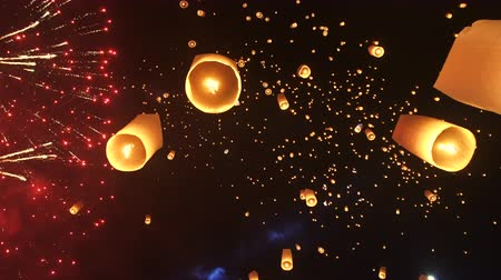 yeepeng : Lantern Festival Thailand Abstract Millions Stars In Night Sky