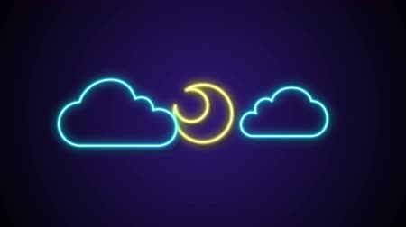 black and white : motion graphic moon show behind neon cloud wether icon animation Stock Footage