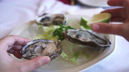 osztriga : Eating Fresh South Africa Oyster with lemon platter Stock mozgókép