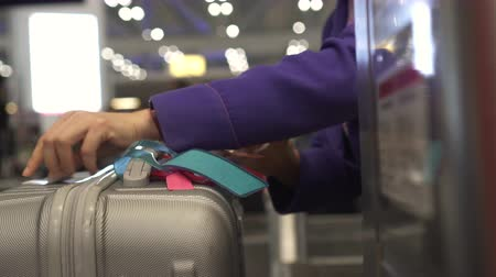 priority : Luggage Check In Tagging Attach Before Loading Stock Footage