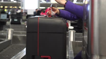 handling : Luggage Check In Tagging Attach Before Loading Stock Footage