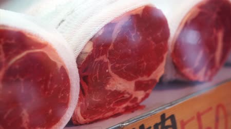 satmak : Japanese Beef Whole Roll Sell In Tsukiji Market Glass Shelf Stok Video