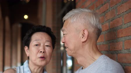 ethic : Asian Eldery Couple Dating In City Happy Life Stock Footage