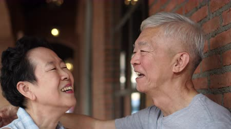ethic : Asian Eldery Senior Couple Dating Outside In City Shopping Area