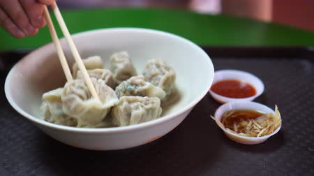 тусклый : Dumplings Singapore Chinese Style With Ginger And Chili Sauce