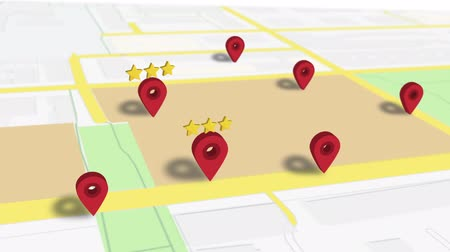 trovare : Mark Favourite Location Tag Star Red Pin In Map Animation Hd Filmati Stock