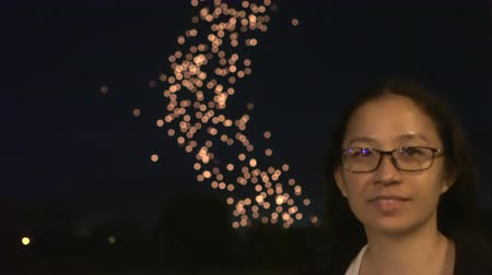 fly away : Tourist Woman Happy Experience Thailand Loy Krathong Lantern Festival