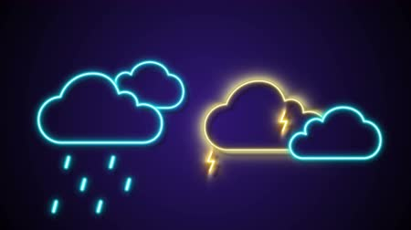 hava durumu : Rain And Thunder Neon cloud icon motion graphic Animation Stok Video