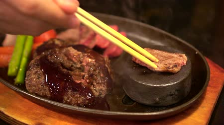 eye piece : Wagyu Beef Steak With Heat Stone To Cook Meat