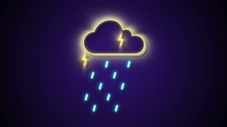 meteoroloji : Neon Thunder Strom Cloud Raining Icon Animation Motion Graphic Stok Video
