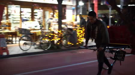 rickshaw : Tokyo, Japan - 24 Dec 2016: Asakusa Rickshaw Sightseeing Tourist On Christmas Eve Night Stock Footage