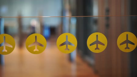 feloszt : Airtport abstract boarding gate with yellow plane sticker icon