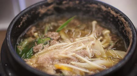 beef stock : Korean style stove heat beef brouth soup Stock Footage