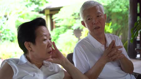 vector : Asian elderly couple worry with health and sickness plan