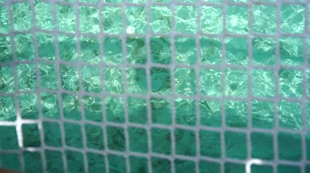 holiday villa : Maldives clear water through ocean net seat view perspective Stock Footage