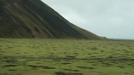 vanish : Green roadside landscape view of Iceland road trip Stock Footage