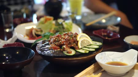 yum yum : Spicy tuna japanese and Thai fusion cuisine Stock Footage