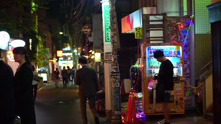 automaat : Tokyo, Japan - 23 Sep 2016: Local alley view at night after work evening time