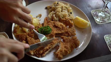 dana eti : Eating pork Schnitzel Austria cuisine battered meat with  Sauerkraut and potatoes Stok Video