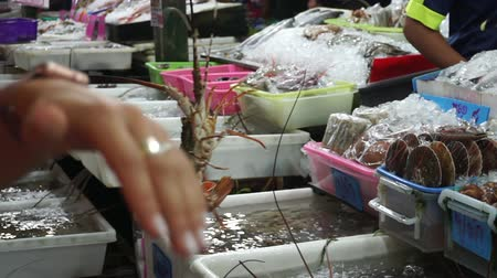 crawfish : Jumping live seafood in Phuket Thailand market. Hands showing alive seafood  for sell