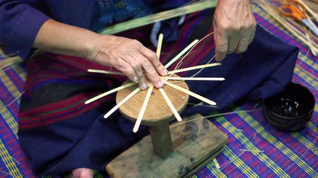 bamboo basket : Thai handmade handicraft from ratten eco friendly products Stock Footage