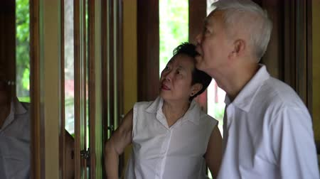 remember : Asian senior elder couple looking at memory objects in cabinet good time Stock Footage