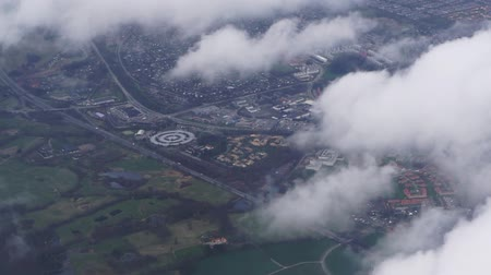 copenhagen : Flying to Copenhagen, Denmark aerial view with cloudy weather