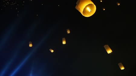 peng : Pan low angle view of lantern festival Chiang Mai Thailand Stock Footage