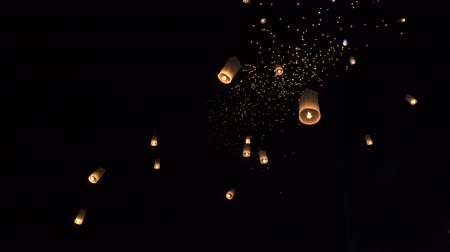peng : Lanterns floating in loy krathong night sky Thailand famous festival
