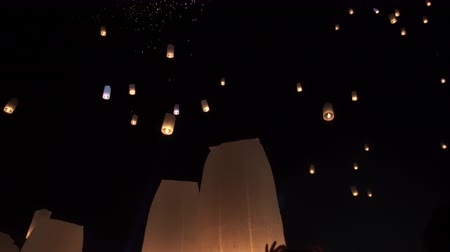peng : Thousand of lanterns floating in loy krathong night sky Thailand famous festival