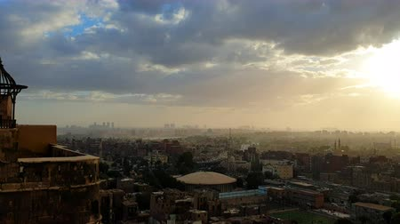 Skyline of Cairo Egypt city at sunset ancient history country
