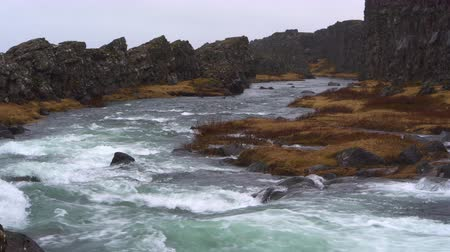 River stream strong at Iceland landscape Stock Footage