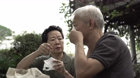 alerji : Asian senior couple wearing mask prevent from virus and polluted pm 2.5 Stok Video
