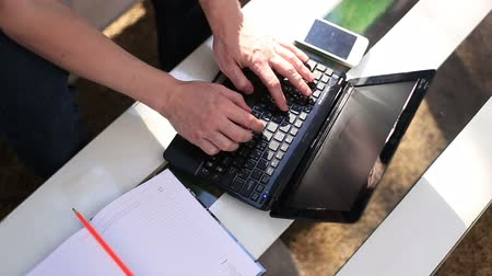 use computer : Uses a digital laptop outdoors