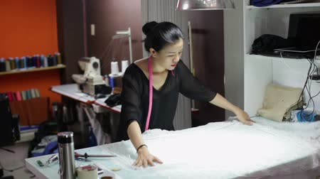 workshop : Asian woman tailor fashion clothes dress designer working with fabric
