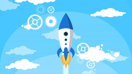 raket : Rocket cartoon Fly Blauwe Hemel Witte Wolken Flat Design Loop