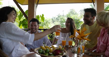 kahvaltı : Cheerful Group Of Friends Toasting Juice Glasses Sitting At Table On Summer Terrace, Happy Smiling Mix Race People Together Having Breakfast Slow Motion 60 Stok Video