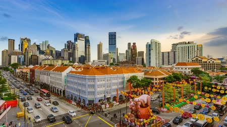 lunar new year : Singapore, Singapore - 01 February 2019: Timelapse of Chinese Lunar New Year in Chinatown, Singapore. Year of the pig with pig decorations and ornaments..