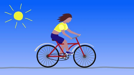 Cycling girl, sunny day cartoon Wideo