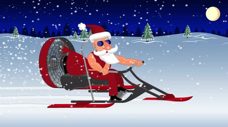 Bad Santa Claus on a aerosleigh rides with gifts Wideo